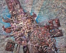 Zerrouki BOUKHARI (Mostaganem 1944)Le mystère des apparencesAcrylique sur toile 100x90 cm Signé en