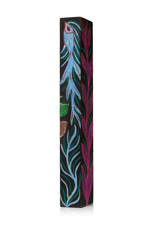 Attribué à BAYA Fatma (BORDJ EL KIFFAN 1931- BLIDA 1998)TotemGouache sur papier noir contrecollé sur - Image 2 of 2