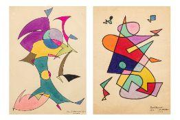 Jamil HAMOUDI (Irak 1924 - 2003)Sans titre, 1950Diptyque, encre sur papier 31 x 22 cm chaque (1)