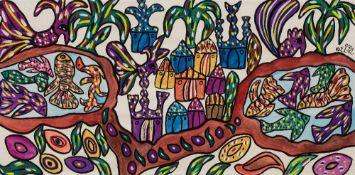 Fatma BAYA (Bordj el Kiffan 1931- Blida 1998)Oasis Gouache sur papier 48 x 97 cm Signé en arabe et