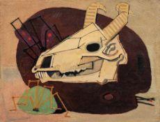 Mansour QANDRIZ (Tabriz 1936 - Téhéran 1966)Skull and Palette, 1958Huile sur toile 45 x 59,5 cm Ce