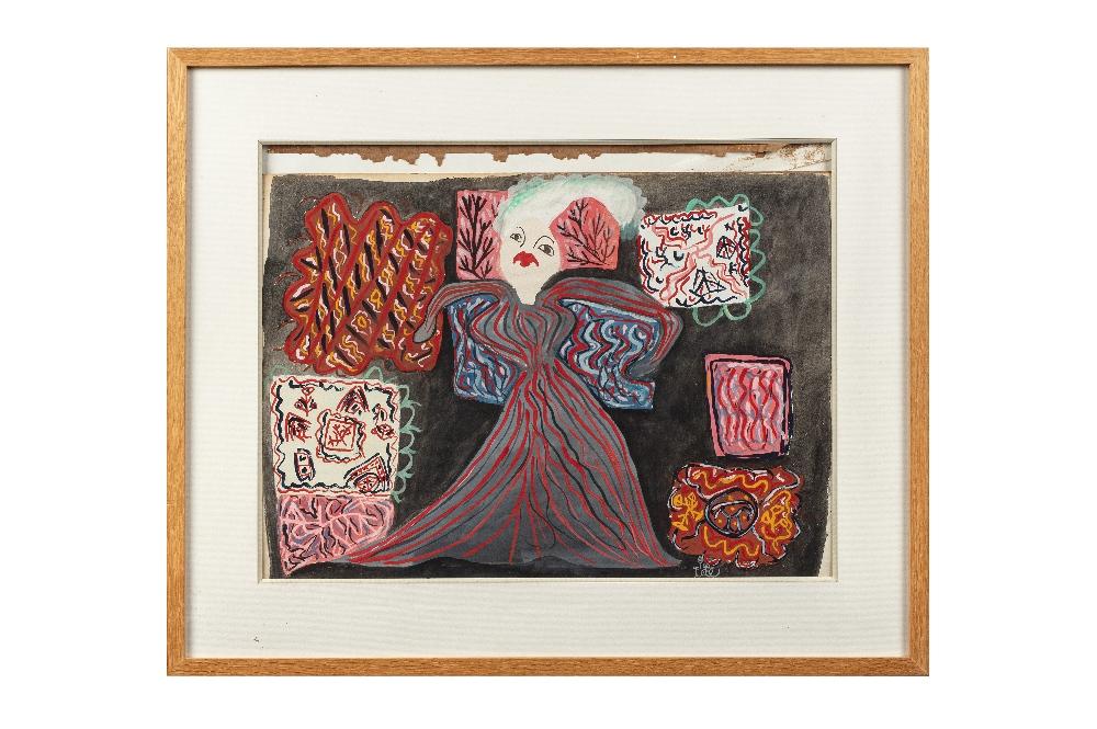 BAYA Fatma (Bordj el Kiffan 1931- Blida 1998)Femme à la robe rayéeGouache sur papier contrecollé sur - Image 2 of 2