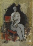 Fériel LAKHDAR (Tunis 1965)Sans Titre, 1989Femme assise Huile sur toile 22x16cm Signé et daté en bas