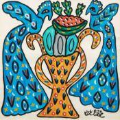 Fatma BAYA (Bordj el Kiffan 1931- Blida 1998)Coupe à la pastèque, 1989Gouache et crayon sur papier