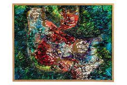 Faramarz PILARAM (Téhéran 1937-1982)CompositionHuile sur toile signée au dos 67 x 88 cm Provenance :