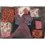 BAYA Fatma (Bordj el Kiffan 1931- Blida 1998)Femme à la robe rayéeGouache sur papier contrecollé sur
