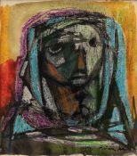 Faik HASSAN (Bagdad 1914–1992)Femme au voile bleu, circa 1950Technique mixte sur papier 15, 5 x 13