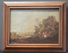 The stop of the horsemen at the spring. Flemish school XVIIth century. Oil on canvas mounted on