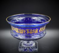 """A Val St Lambert crystal """"Borodine"""" cup on a cobalt blue cut clear crystal pedestal with 24-carat"""