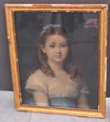 Portrait of a young woman. Pastel XVIII th century. Size : 46 x 60 cm.