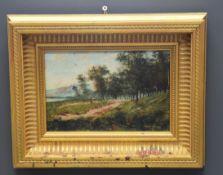 Jules LAPOQUE (1826-1889) Country landscape. Oil on panel. Dimensions : 15,5 x 22 cm.