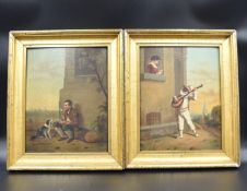 Pair of romantic country paintings. The serenade and the faithful friend. Monogrammed and dated
