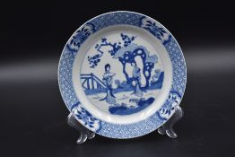 Chinese porcelain plate with white/blue decoration of two elegant women in a landscape.
