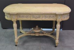 Napoleon III table in patinated wood opening on a drawer in belt. Louis XVI style. Height : 75 cm.