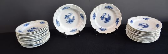 Set of 24 plates (12 hollow and 12 flat) in Tournai porcelain with Ronda, wicker and twisted ribs