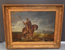 Louis PATERNOSTRE (1824-1879); The Gallic lancer. Oil on canvas. Dimensions : 63 x 86 cm. Old