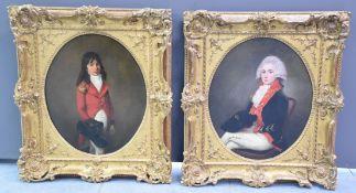 Pair of portraits of elegant people around 1800. Oils on canvas marouflaged on cardboard.