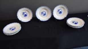 Set of 12 plates (6 hollow and 6 flat) in porcelain of Tournai with Ronda décor.