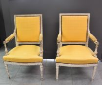 Pair of Louis XVI style armchairs with grey patina.