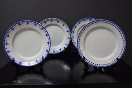 Set of four porcelain plates of Tournai including three decorations with the thought and a