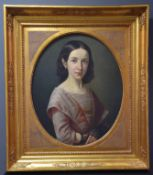 Portrait of a young girl around 1820. Oil on canvas in its beautiful gilded frame. Dimensions canvas