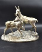 Charles GUILLAUD (1925-2014) Group in silver plated bronze, couple of deer. Ht: 33 cm.