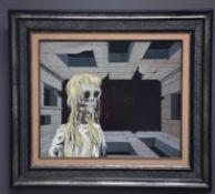 Gaston BOGAERT (1918-2008). Female specter in front of a surrealist landscape. Oil on panel.
