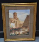 Gouache around 1840. View of Rome. Remains of the forum of Nerva. Size : 24 x 35 cm.