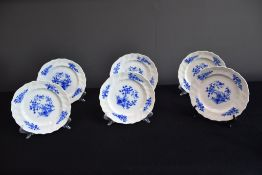 Set of 6 Tournai porcelain dessert plates. Wicker and twisted ribs.