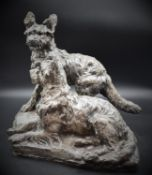 Thomas François CARTIER (1879-1943) Couple of terriers. Bronze with silver patina. Height: 37 cm.