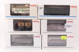 Märklin sechs GüterwagenMärklin sechs Güterwagen, 34900, 4717, 48412, 48746, 00722