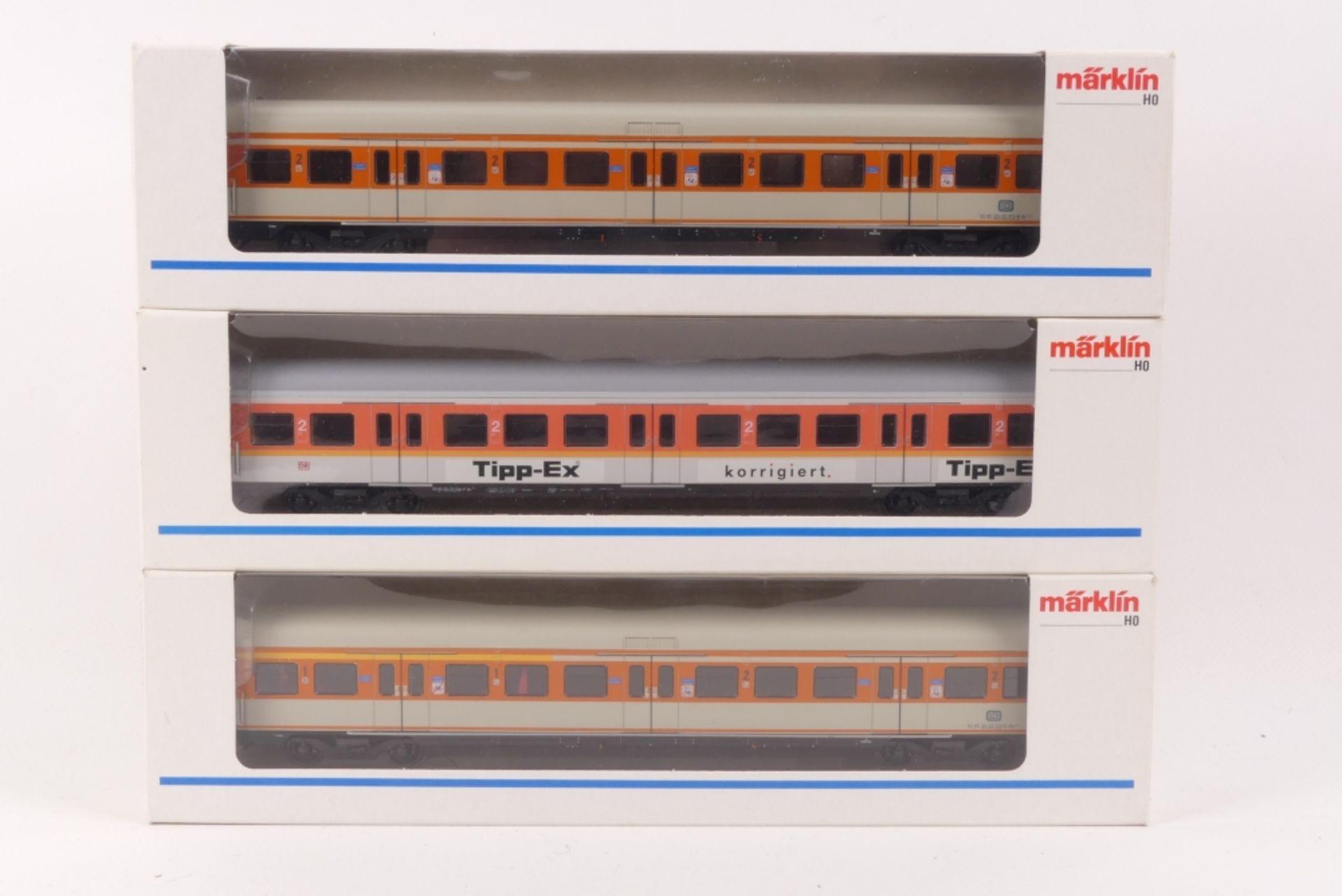 Märklin drei S-Bahn-WagenMärklin drei S-Bahn-Wagen, 4105, 4183, 4184, sehr gut erhal
