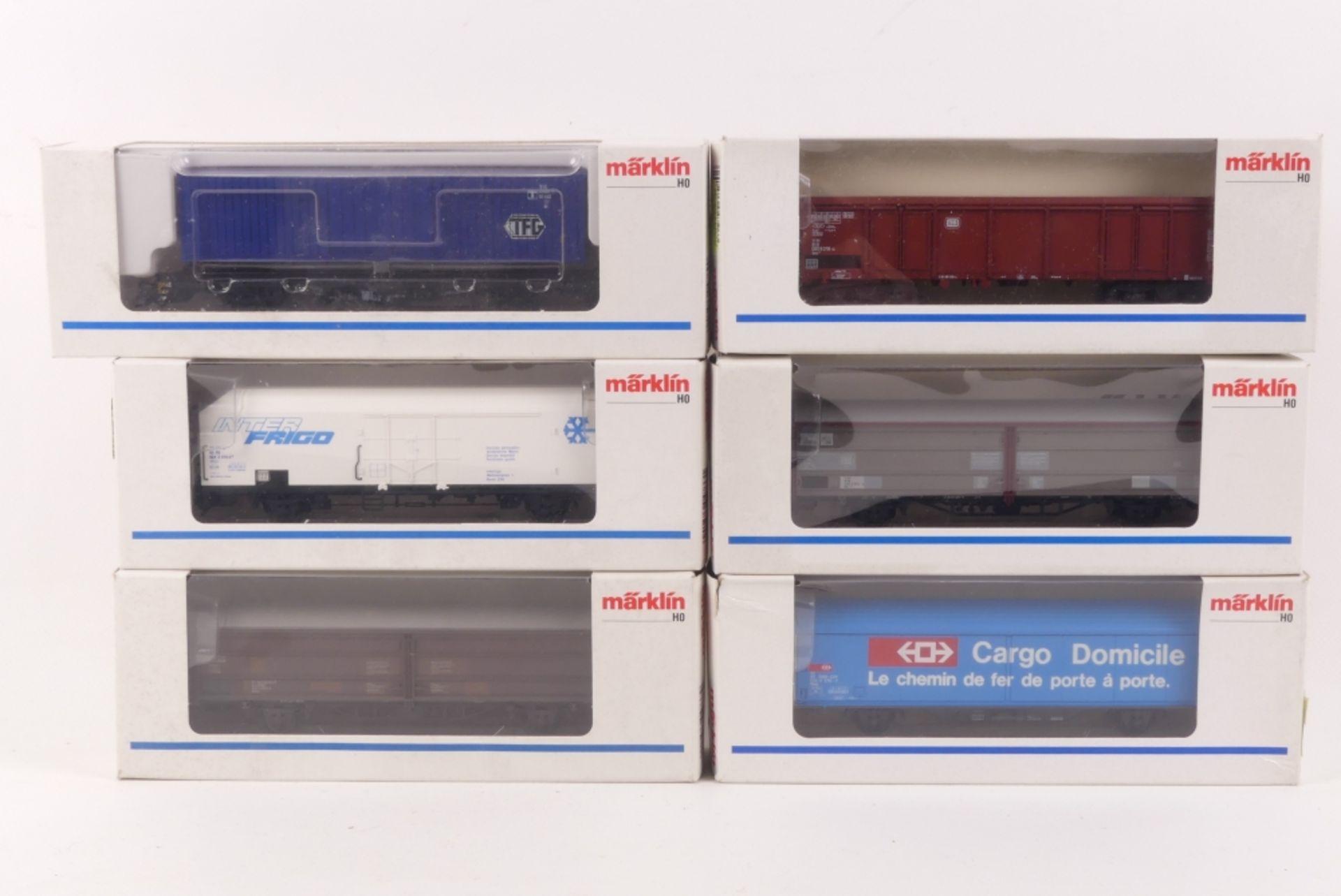 Märklin sechs GüterwagenMärklin sechs Güterwagen, 4726, 4733, 4734, 4735, 4737, 47