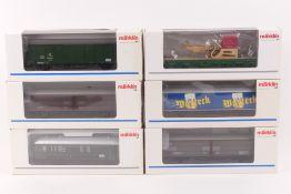 Märklin sechs GüterwagenMärklin sechs Güterwagen, 24359, 24362, 4734, 4737, 4836,
