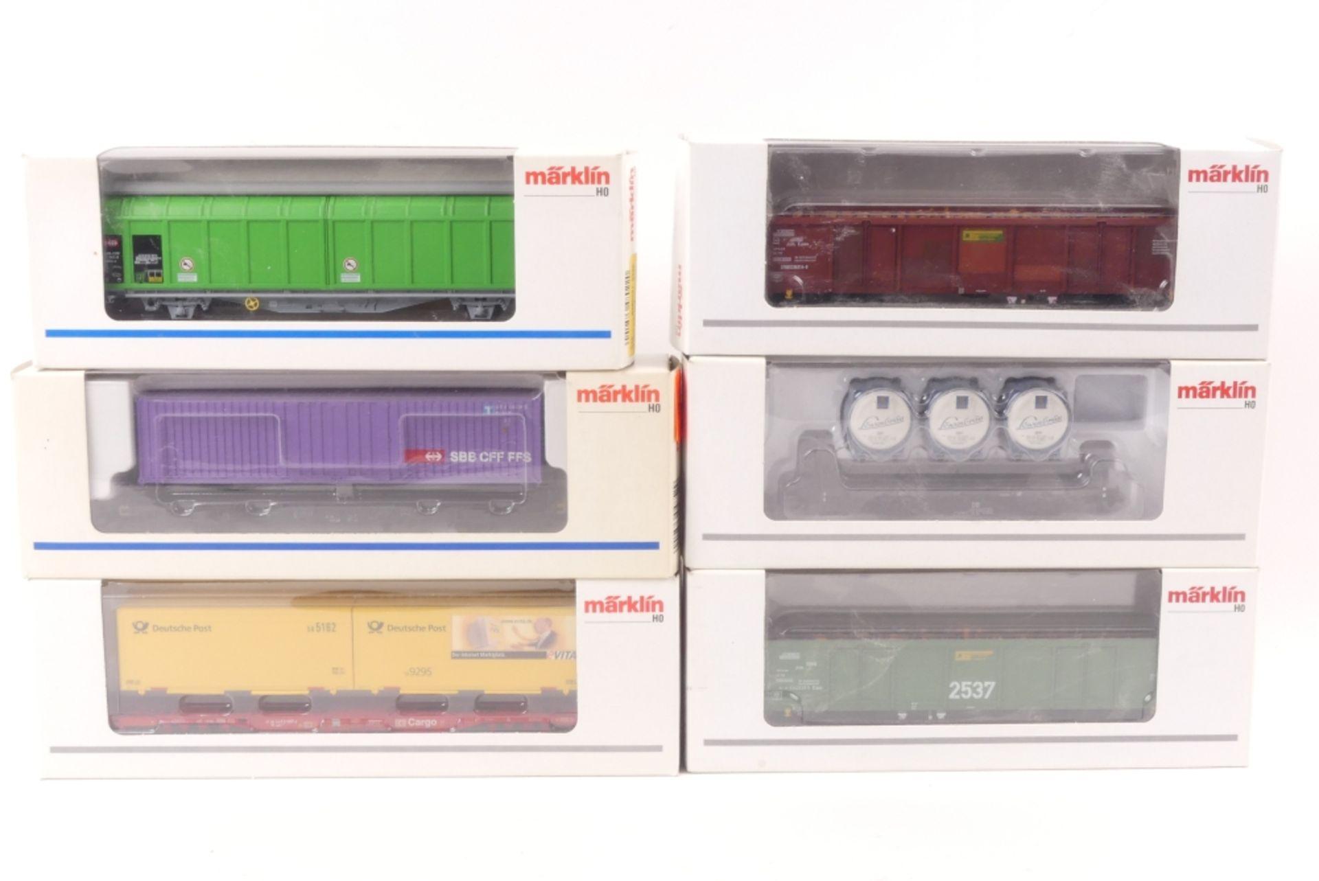 Märklin, sechs GüterwagenMärklin, sechs Güterwagen, 4852, 47708, 00751-20, 48637,