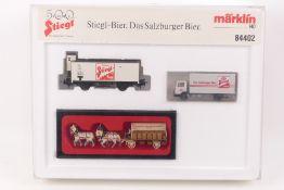 Märklin 84402Märklin 84402, Stiegl-Bier, Länderbahn-Kühlwagen, Wiking LKW, Preiser