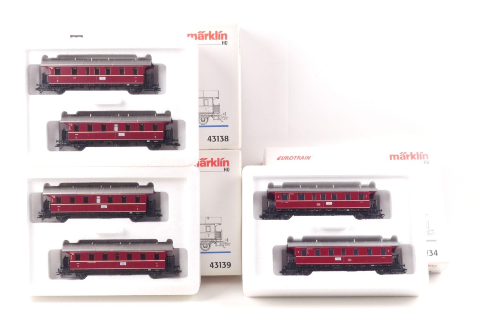 """Märklin drei Wagen-SetsMärklin drei Wagen-Sets, """"Donnerbüchsen"""", 43134, 43138, 4313"""