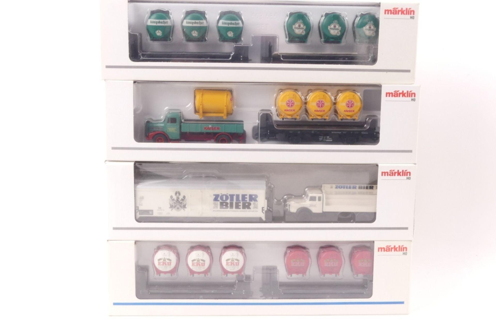 Märklin vier GüterwagenMärklin vier Güterwagen, Museum 2006, Gleichstromachsen, 48