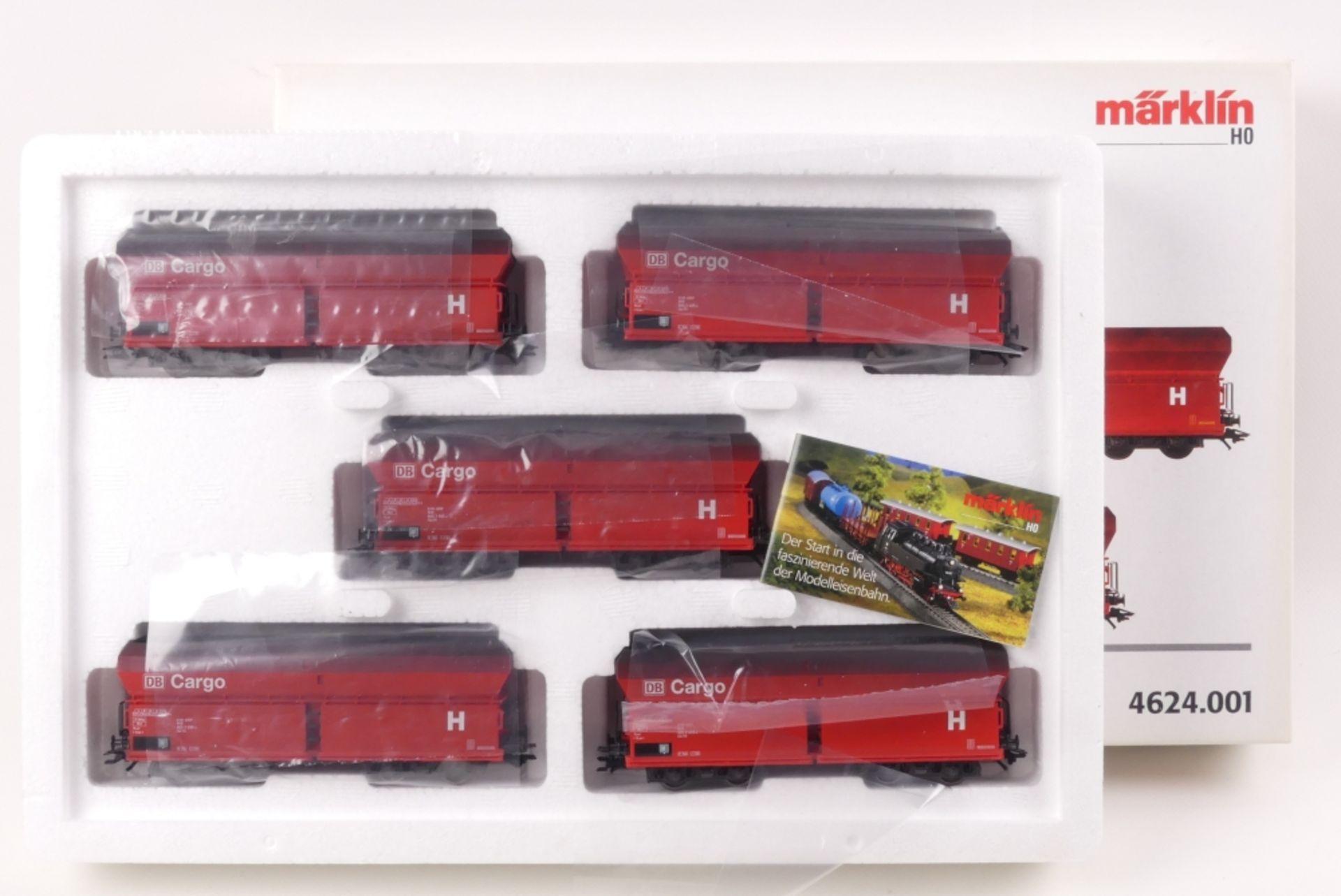 """Märklin Wagen-SetMärklin Wagen-Set, 4624.001, """"DB Cargo"""", auf Gleichstromachsen umge"""