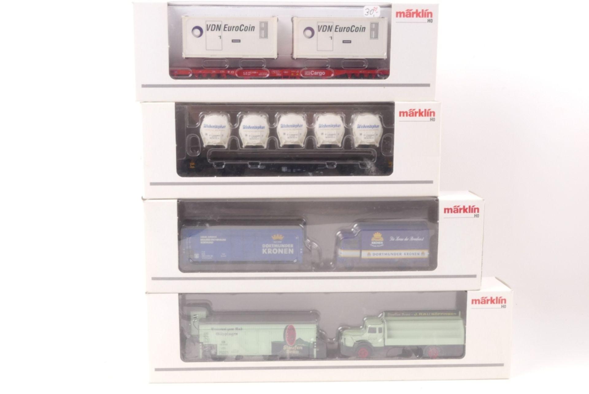 Märklin vier GüterwagenMärklin vier Güterwagen, 47709, 48114, 48631, 48535, sehr g