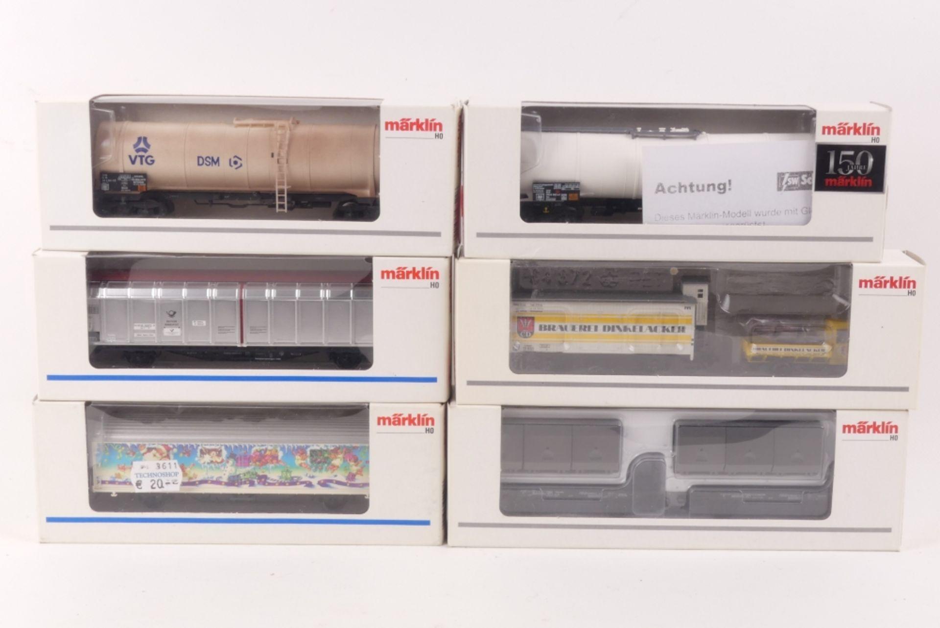 Märklin sechs GüterwagenMärklin sechs Güterwagen, 47522, 47562, 48018, 48272, 9441