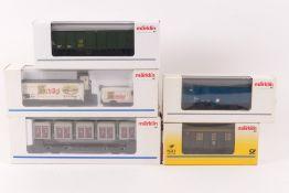 Märklin fünf GüterwagenMärklin fünf Güterwagen, 4767, 46276, 48580, 94034, 4500,