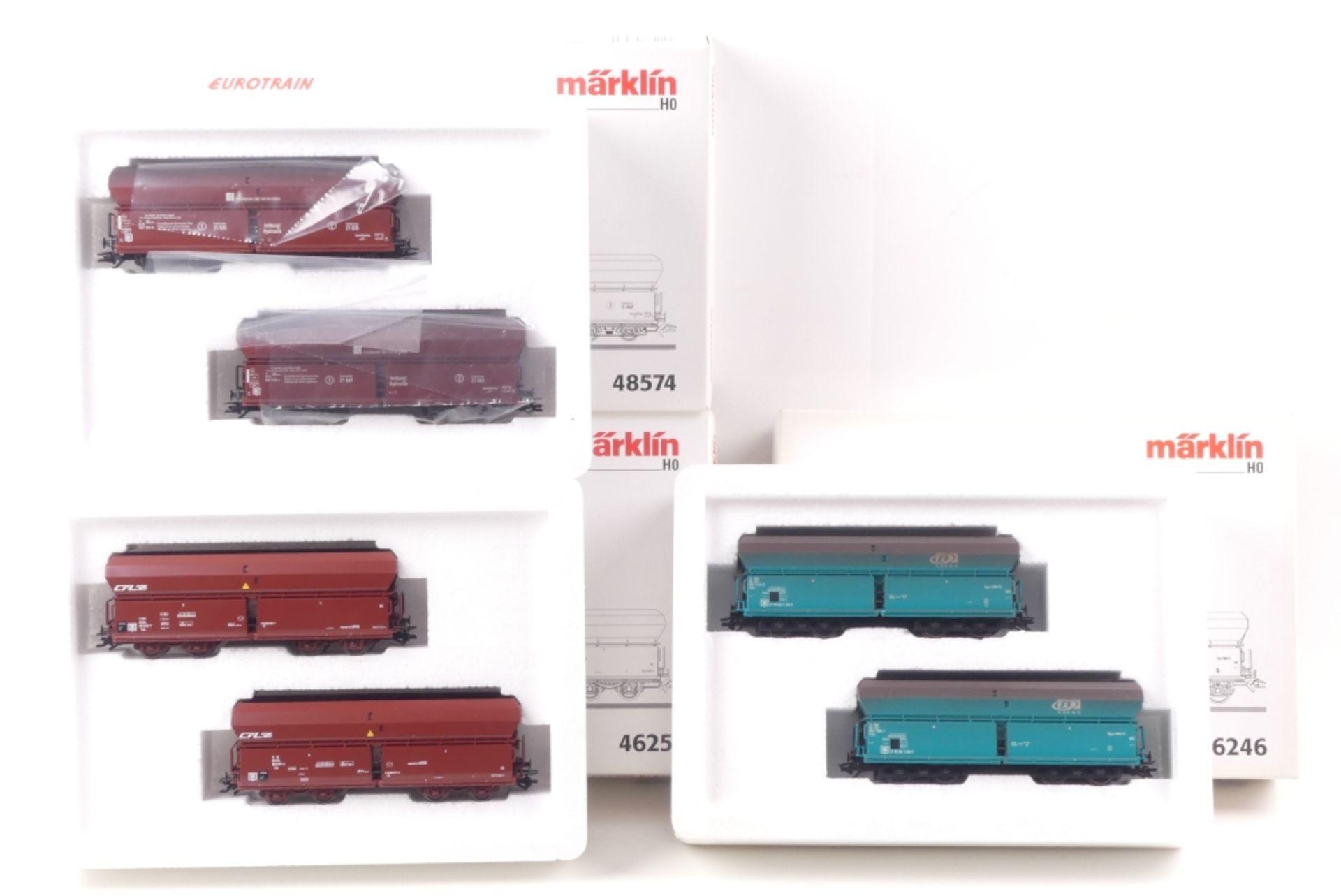 Märklin drei Wagen-SetsMärklin drei Wagen-Sets, 46251, 48578, 46246, mit Gleichstrom