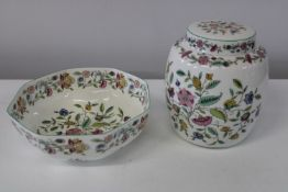 "A Minton ""Haddon Hall"" ginger jar & bowl"