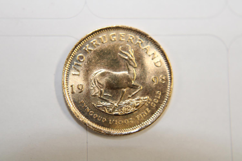 A 1998 gold 1/10 oz South African Kruggerand 3.5 gms UNC