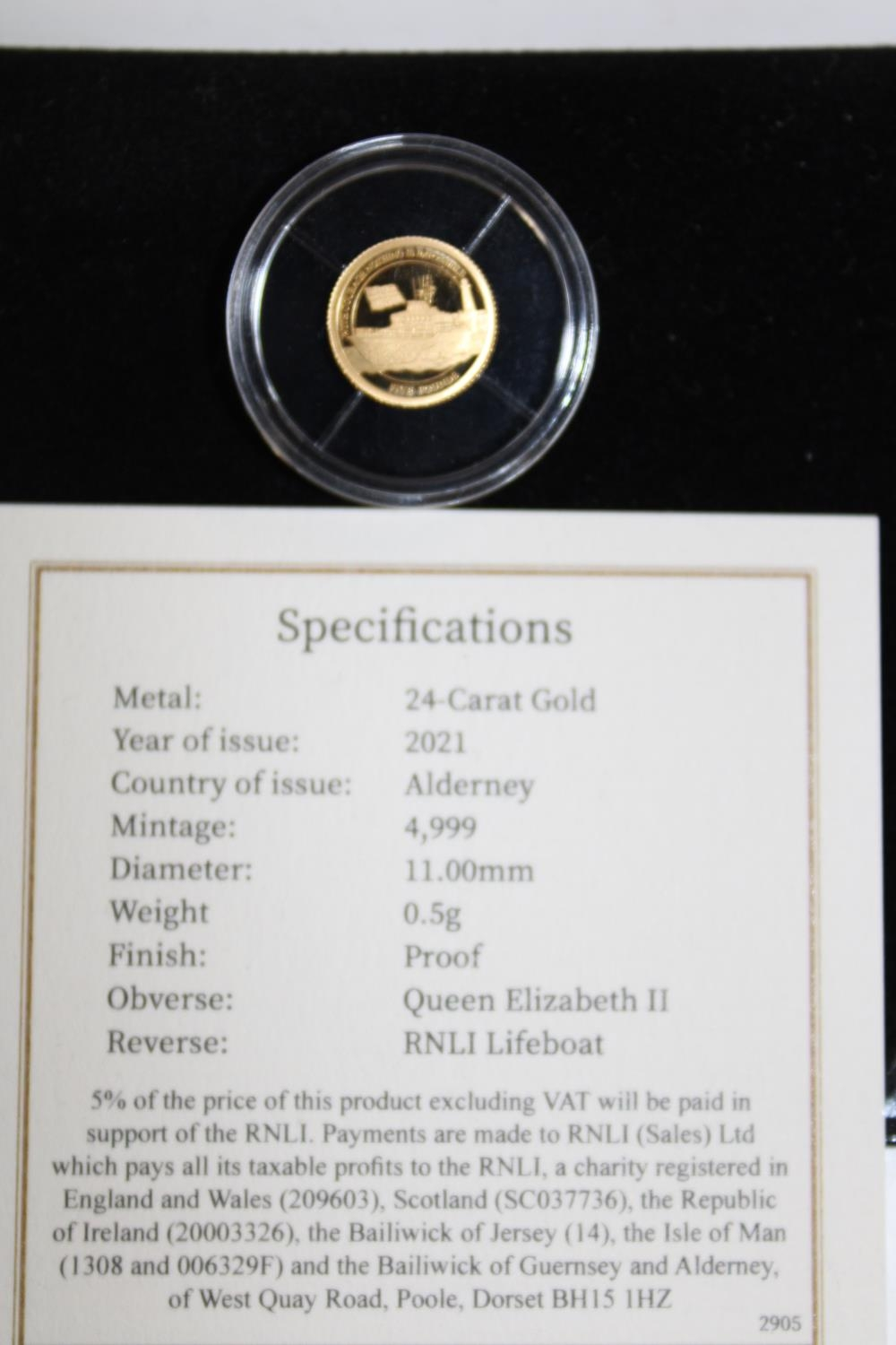 A 24ct 2021 gold Alderney proof coin 0.5 grams