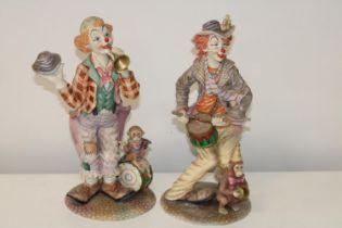 Two Leonardo clown figures Height 36cm (as found)