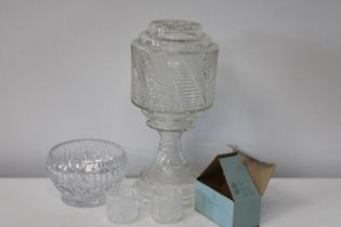 A Hurricane style glass lamp & other glass items (lamp has chips to the base)