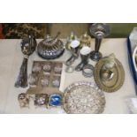 A selection of assorted silver plated items etc
