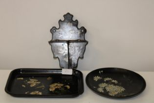 Three pieces of antique papier - mache ware